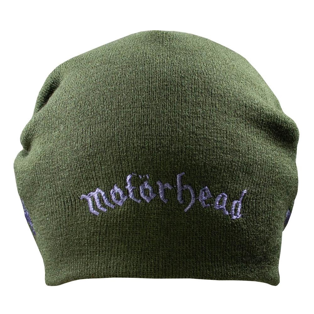 шапка бини с вышивкой MOTORHEAD Logo оливковая 0