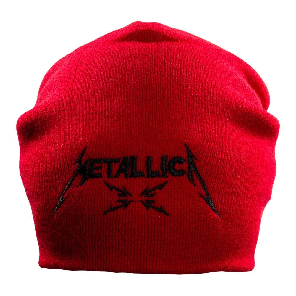 шапка бини с вышивкой METALLICA M4 красная 0