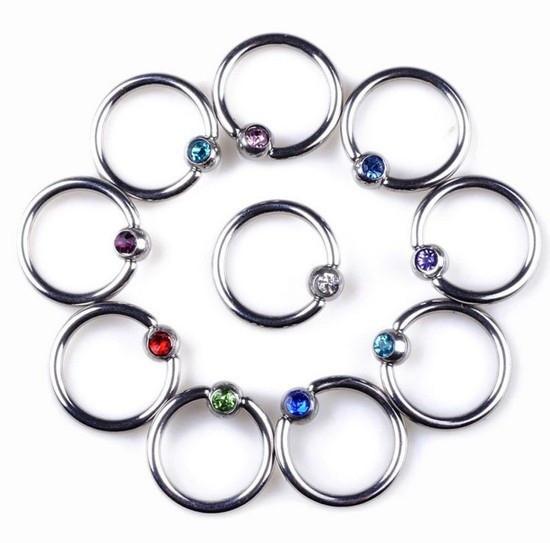 Кольцо с шариком с камнем (хир. сталь) 0
