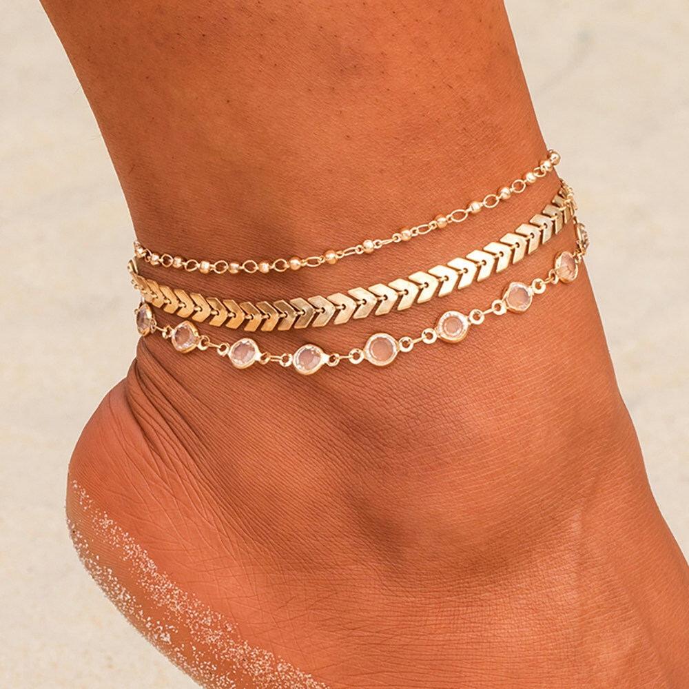 Браслет на ногу многослойный декорированный (золотистый) 0