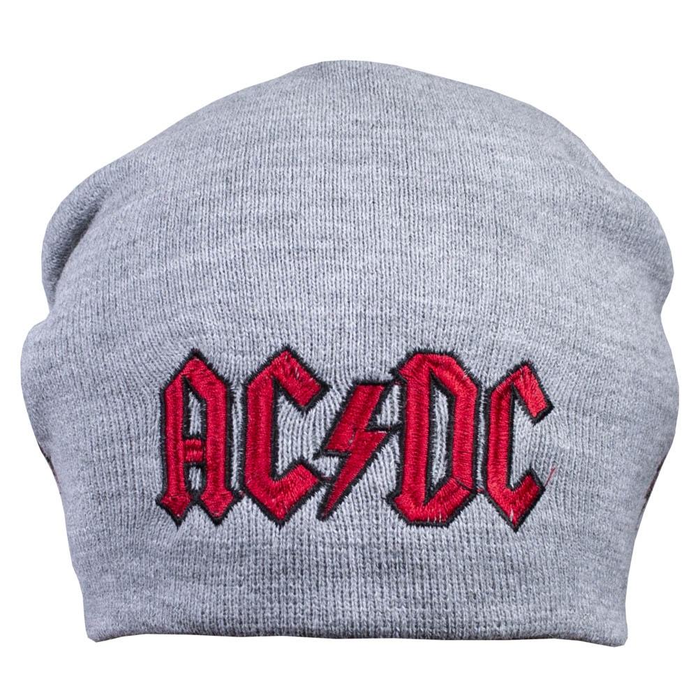 шапка бини с вышивкой AC/DC Logo серая 0