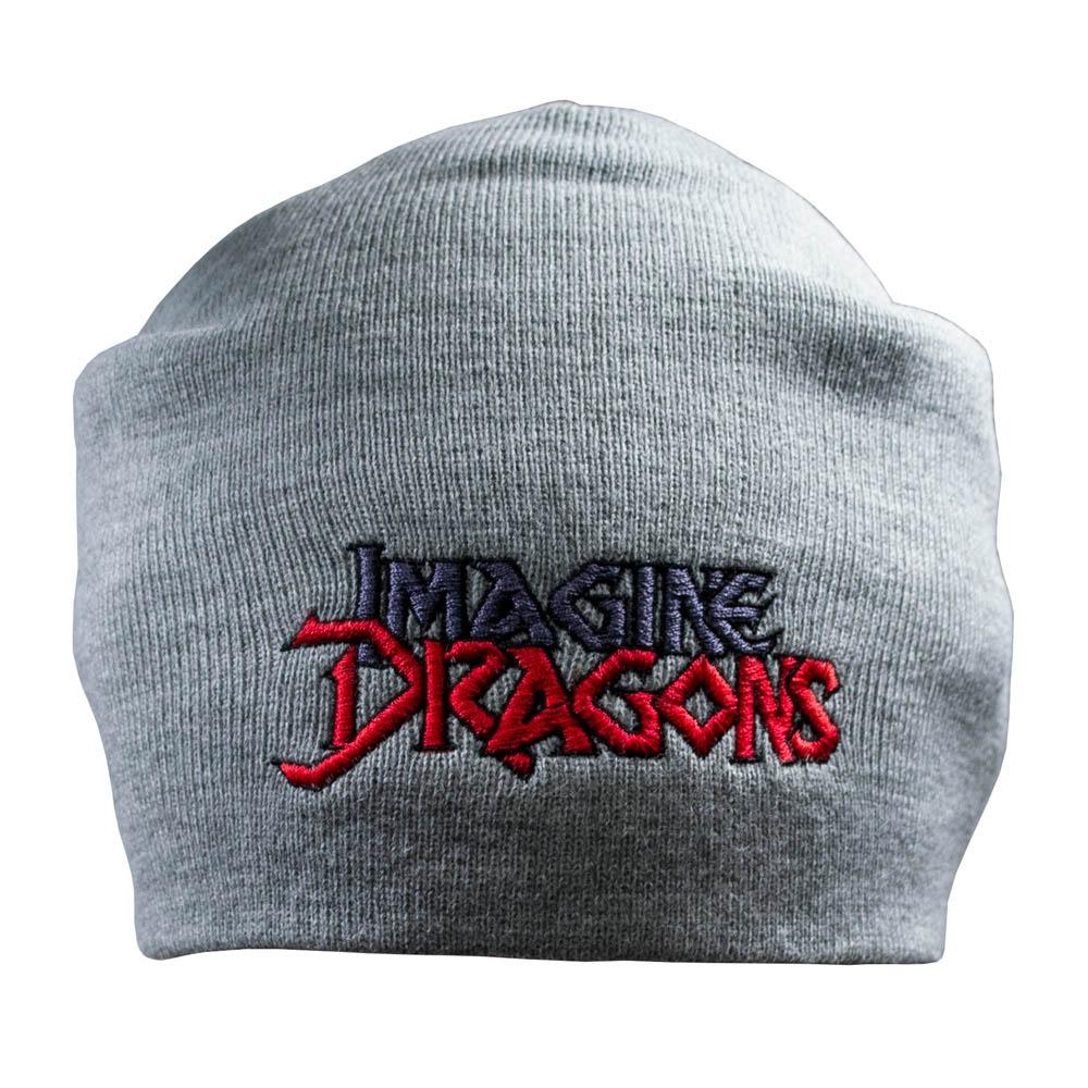 шапка бини с вышивкой IMAGINE DRAGONS серая 0