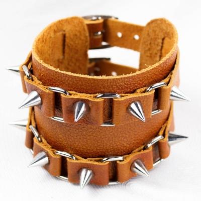 браслет кожаный BKB-157-2 два ремешка с шипами