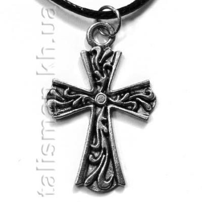 кулон K-116 - Крест с узором (серебро)