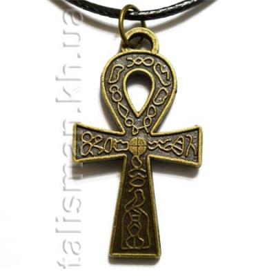 кулон K-121 - Крест АНКХ с узором (бронза)