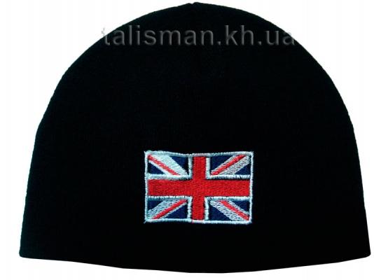 шапка зимняя вязаная с вышивкой Флаг ВЕЛИКОБРИТАНИИ