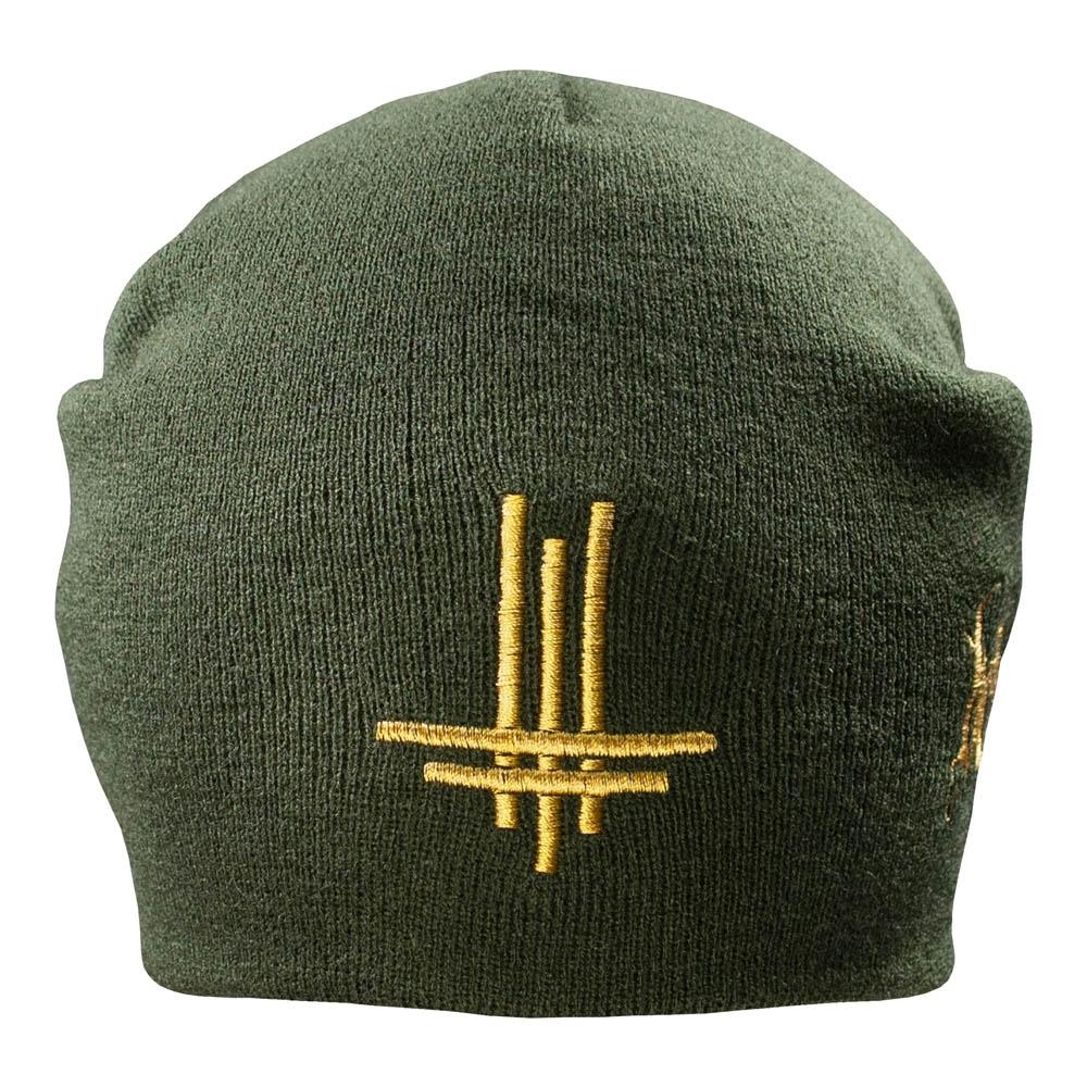 шапка бини с вышивкой BEHEMOTH Logo оливковая 0