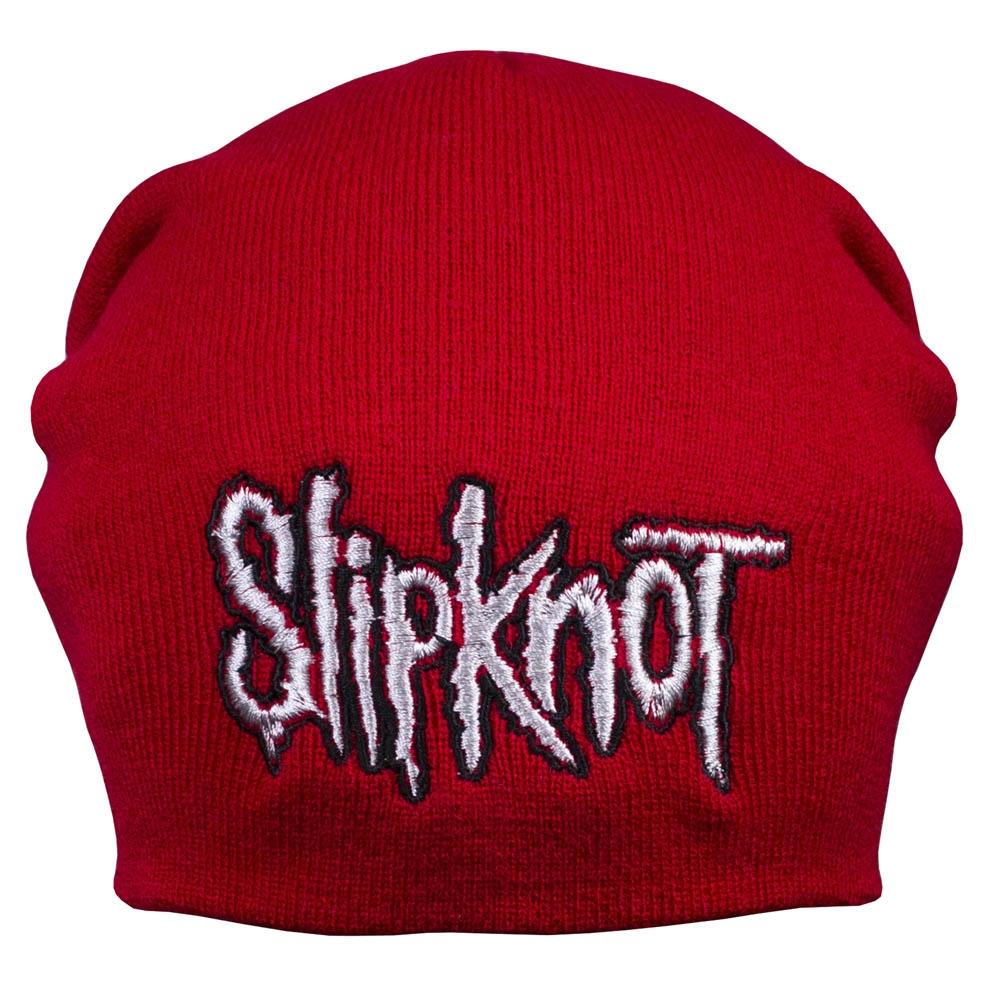 шапка бини с вышивкой  SLIPKNOT красная 0