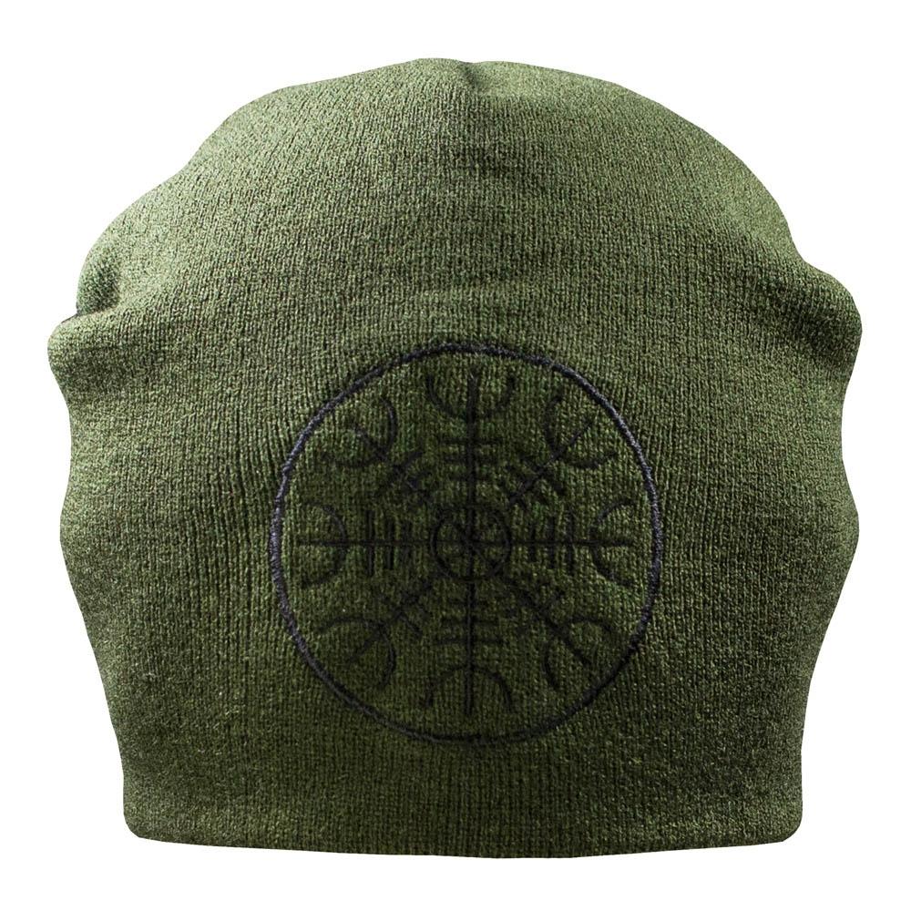 шапка бини с вышивкой ШЛЕМ УЖАСА AEGISHJALMR оливковая 0