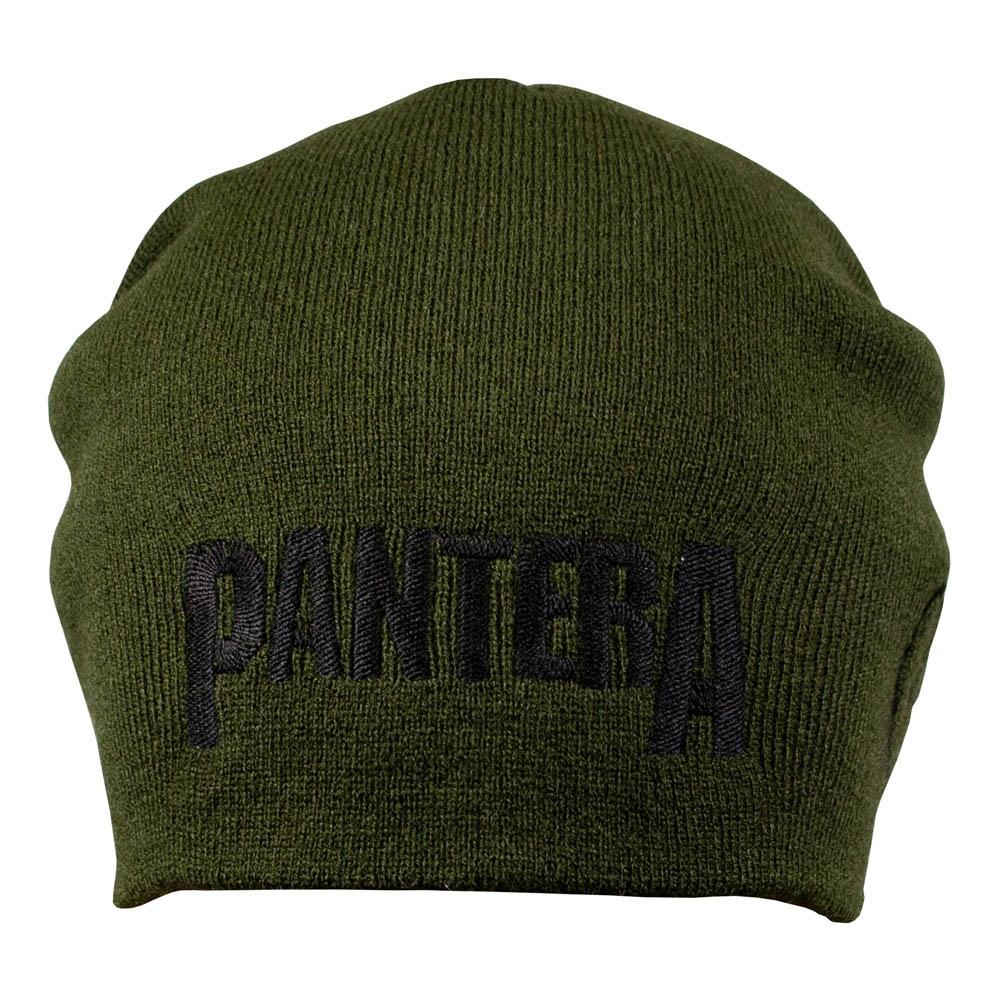 шапка бини с вышивкой PANTERA оливковая 0