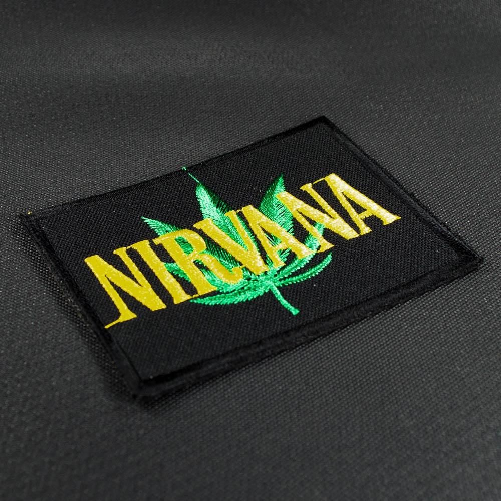 нашивка с вышивкой NIRVANA 3 с коноплей 0