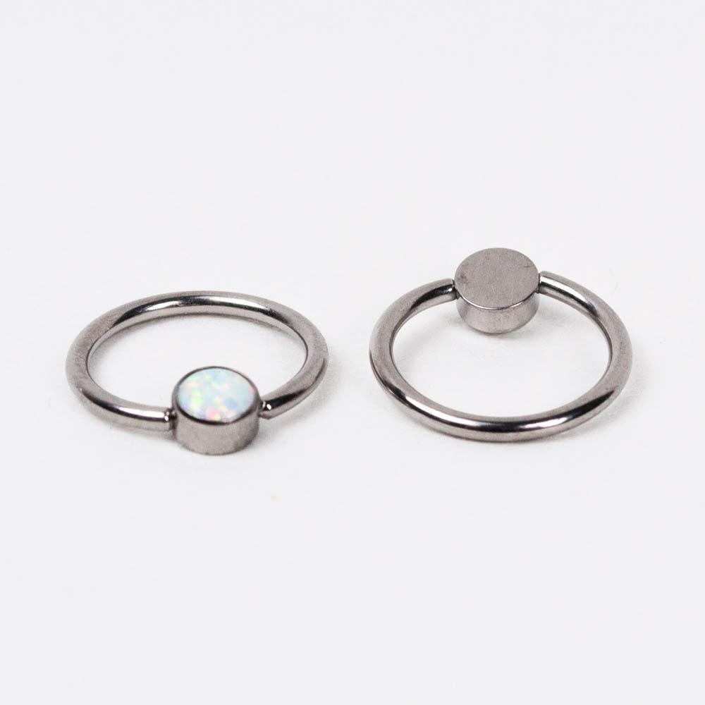 Кольцо титановое с опалом   PKTO-04 серебристый 0