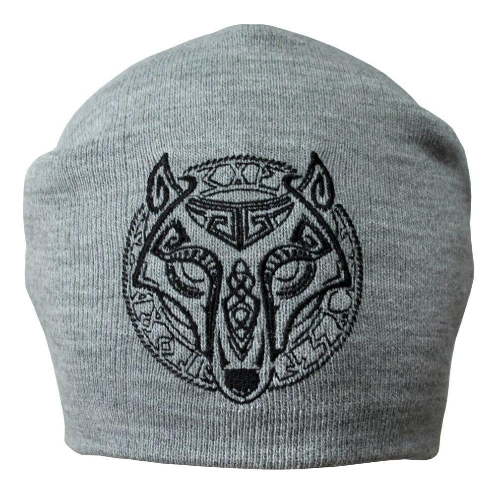 шапка бини с вышивкой ВОЛК С РУНАМИ серая 0