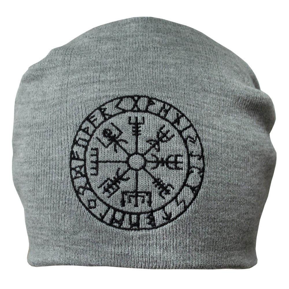 шапка бини с вышивкой VEGVISIR FUTHARK серая 0