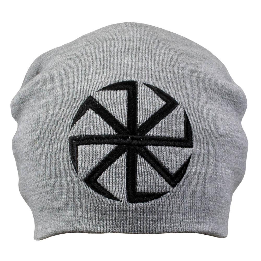 шапка бини с вышивкой КОЛОВОРОТ серая 0