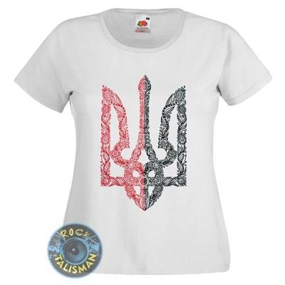 футболка женская ТРИЗУБ червоно-чорний у візерунках, біла